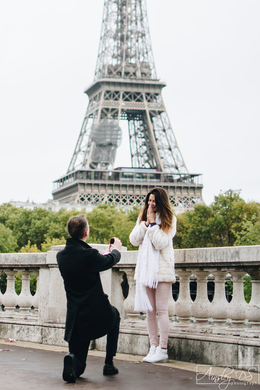 An emotional surprise proposal photoshoot in Paris by photographer Ainsley DS Photography